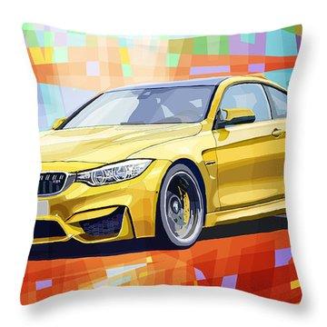 Bmw M4 Orange Throw Pillow