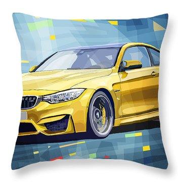 Bmw M4 Blue Throw Pillow