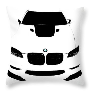Bmw White Throw Pillow by J Anthony