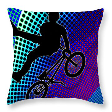 Bmx In Fractal Movie Marquee Throw Pillow by Elaine Plesser