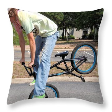 Bmx Rider Throw Pillow