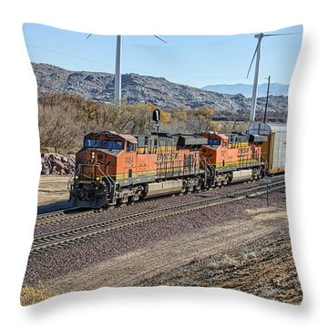 Throw Pillow featuring the photograph Bnsf 7454 by Jim Thompson
