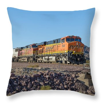 Throw Pillow featuring the photograph Bnsf 7649 by Jim Thompson