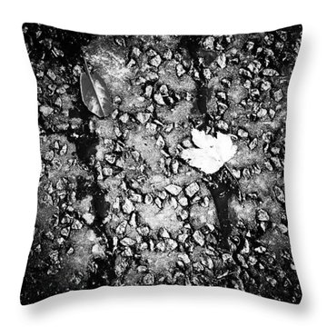 Leaves In The Wet Black 'n' White Throw Pillow