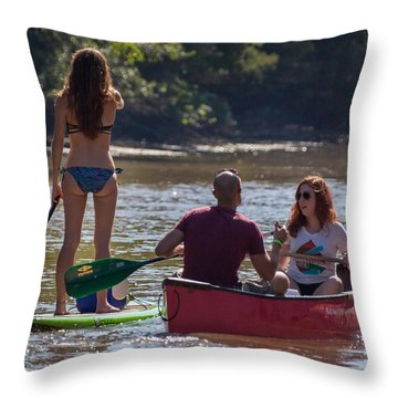 Board And Canoe In Vermillionville Boat Parade Throw Pillow