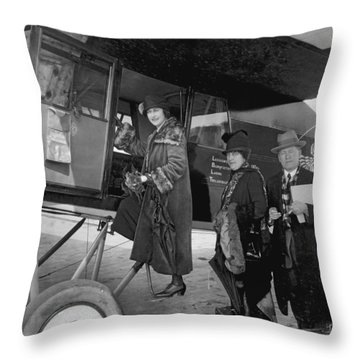 Boarding Fokker Airplane Throw Pillow by Underwood Archives