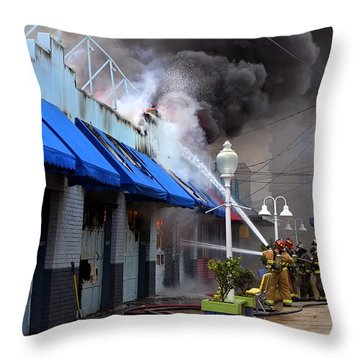 Boardwalk Arcade Fire September 2014 Throw Pillow