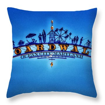 Boardwalk Arch In Ocean City Throw Pillow