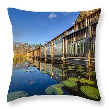 Boardwalk At Grassy Waters Throw Pillow by Debra and Dave Vanderlaan