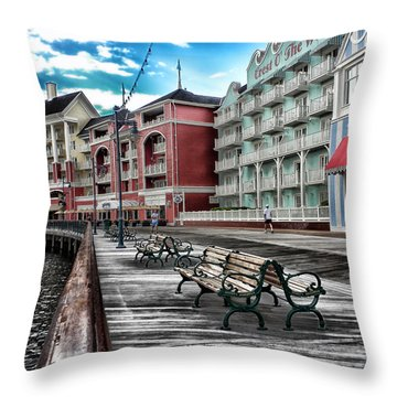 Boardwalk Early Morning Throw Pillow by Thomas Woolworth
