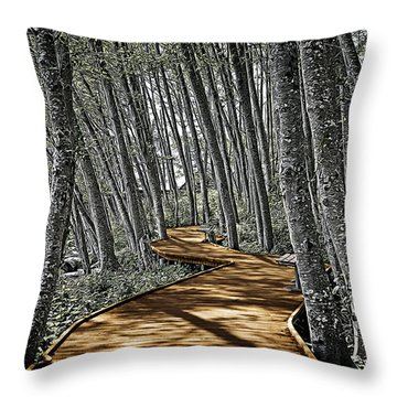 Boardwalk In The Woods Throw Pillow