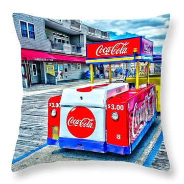 Boardwalk Tram  Throw Pillow by Nick Zelinsky