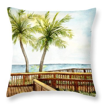Boardwalk With Two Palms Throw Pillow