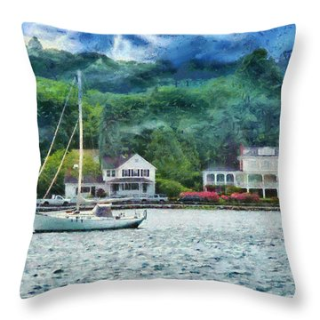 Boat - A Good Day To Sail Throw Pillow by Mike Savad