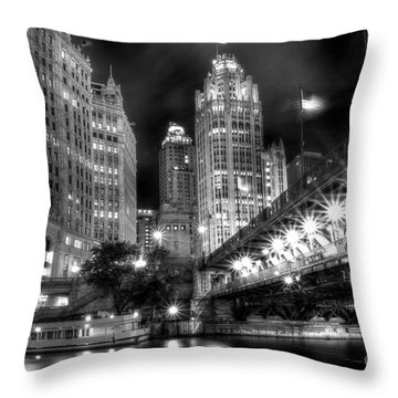 Boat Along The Chicago River Throw Pillow