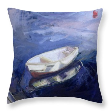 Boat And Buoy Throw Pillow by Sue Jamieson