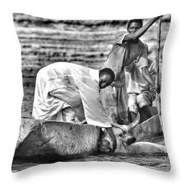 Boat And Cow  Throw Pillow