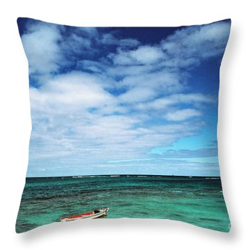 Boat And Sea Throw Pillow by Thomas R Fletcher