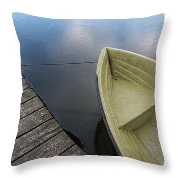 Boat And Wooden Pier - Quiet And Peaceful Scenery Throw Pillow by Matthias Hauser