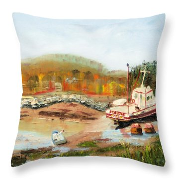 Boat At Bic Quebec Throw Pillow