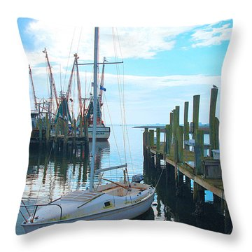 Boat At Dock By Jan Marvin Throw Pillow