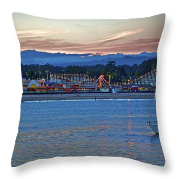 Boat At Dusk Santa Cruz Boardwalk Throw Pillow