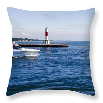 Boat At Holland Pier Throw Pillow