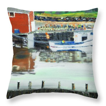 Boat At Louisburg Ns Throw Pillow