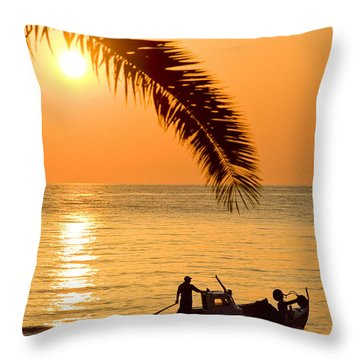Boat At Sea Sunset Golden Color With Palm Throw Pillow by Raimond Klavins