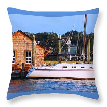 Boat At Shem Creek By Jan Marvin Throw Pillow