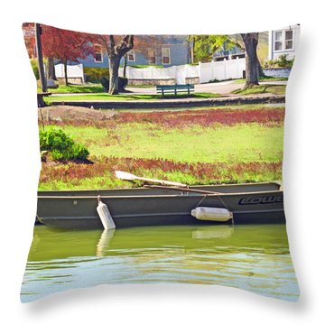 Boat At The Pond Throw Pillow by Barbara McDevitt