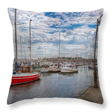 Boat - Baltimore Md - One Fine Day In Baltimore  Throw Pillow by Mike Savad