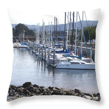 Boat Dock And Big Rocks Right Throw Pillow by Barbara Snyder