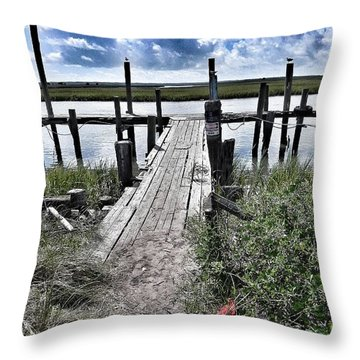 Throw Pillow featuring the photograph Boat Dock With Gulls by Patricia Greer