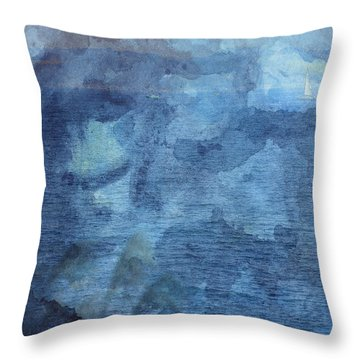 Boat From Afar Throw Pillow