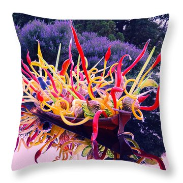 Boat Full Of Chihuly With Lavender Throw Pillow