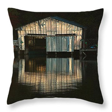 Boat House Effects Throw Pillow by Tammy Schneider