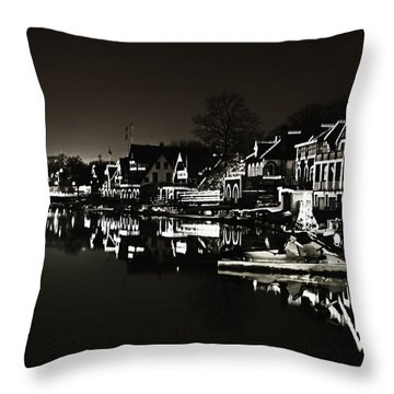 Boat House Row - In The Dark Of Night Throw Pillow by Bill Cannon