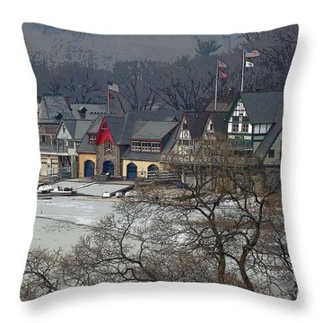 Philadelphia's Boat House Row  Throw Pillow by Cindy Manero