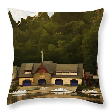 Boat House Row Throw Pillow by Trish Tritz