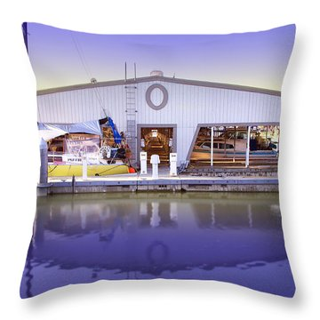 Throw Pillow featuring the photograph Boat House by Sonya Lang