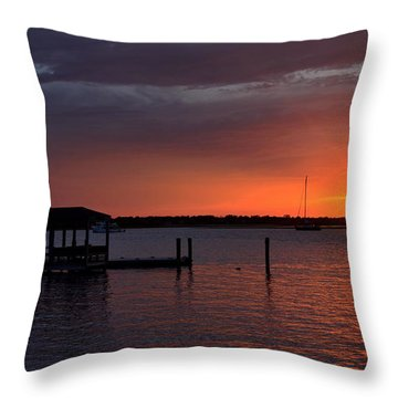 Boat House Sunset  Throw Pillow