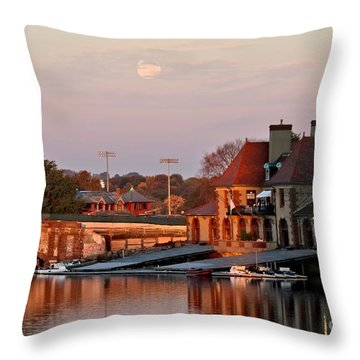 Boat Houses At Dawn Throw Pillow by Kenny Glotfelty