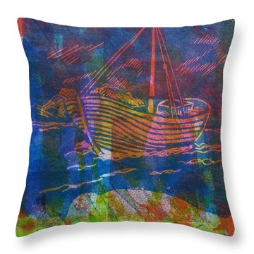 Boat In Blue Throw Pillow by Cynthia Lagoudakis