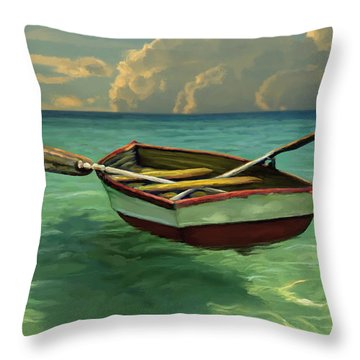 Boat In Clear Water Throw Pillow