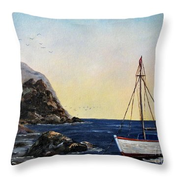 Boat In Maine Throw Pillow by Lee Piper
