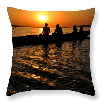 Boat In Sunset On Chilika Lake India Throw Pillow by Diane Lent