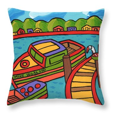 Boat In The Bayou - Cedar Key Throw Pillow