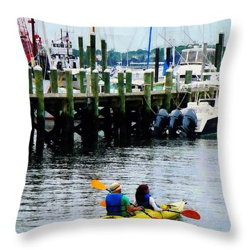 Boat - Kayaking In Newport Ri Throw Pillow