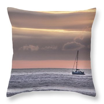 Boat Mooring Off Nairn Beach Throw Pillow